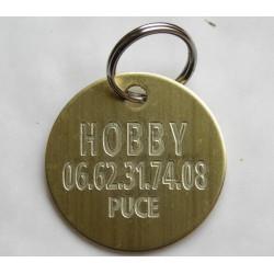 Médaille chien ronde  en laiton  gravure