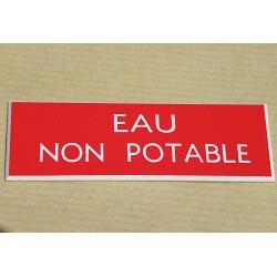 """plaque gravée """"EAU NON POTABLE"""" finition biseautée format 50 x 150 mm"""