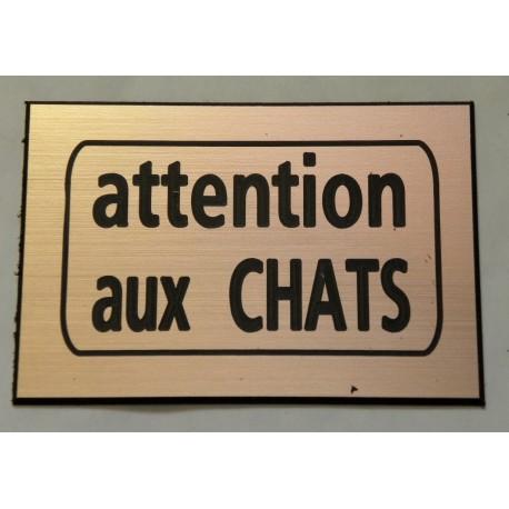 75 x 50 mm finition biseautée CHAT X plaque gravée ATTENTION AU S