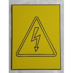 """plaque gravée PICTO """"Danger électrique"""" jaune format 100 x 150 mm"""