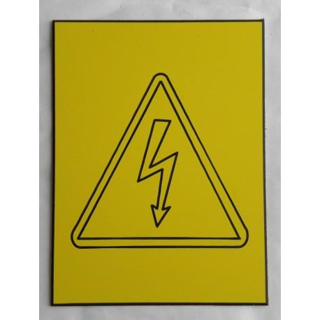 """plaque gravée PICTO """"Danger électrique"""" finition biseautée format 100 x 150 mm"""