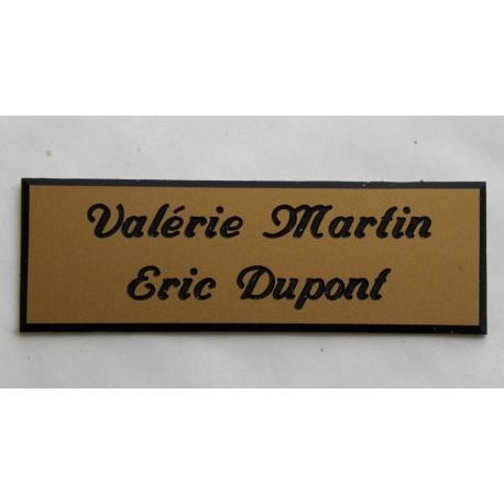 plaque de boite aux lettres sonnette format 20 x 60 mm personnalisable 2 lignes anglaise. Black Bedroom Furniture Sets. Home Design Ideas