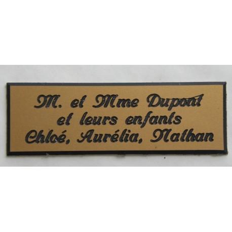 """plaque de boite aux lettres, sonnette format 20 x 60 mm personnalisable 3 lignes """"anglaise"""""""