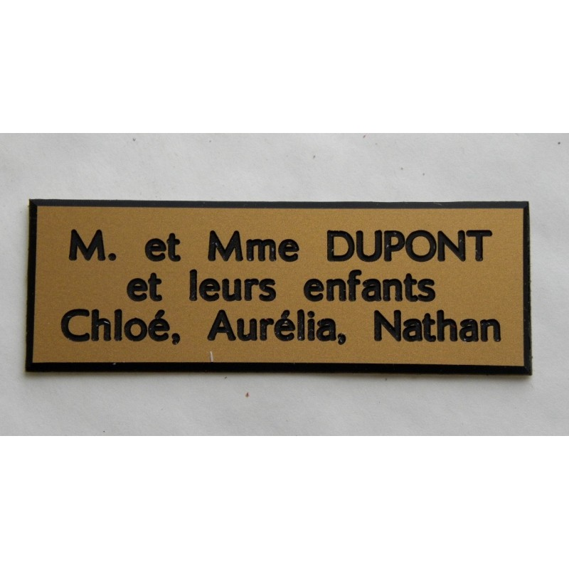 plaque de boite aux lettres sonnette format 50 x 150 mm personnalisable 3 lignes. Black Bedroom Furniture Sets. Home Design Ideas