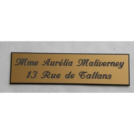 """plaque de boite aux lettres, sonnette format 29 x 100 mm personnalisable 2 lignes """"anglaise"""""""
