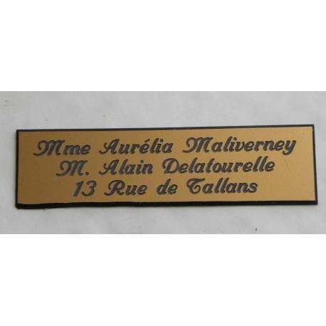 """plaque de boite aux lettres, sonnette format 29 x 100 mm personnalisable 3 lignes """"anglaise"""""""