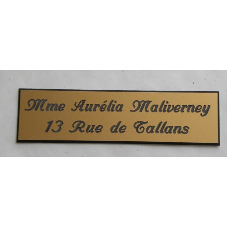 """plaque de boite aux lettres, sonnette format 25 x 100 mm personnalisable 2 lignes """"anglaise"""""""