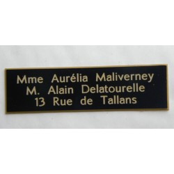 plaque de boite aux lettres, sonnette format 29 x 100 mm personnalisable 3 lignes
