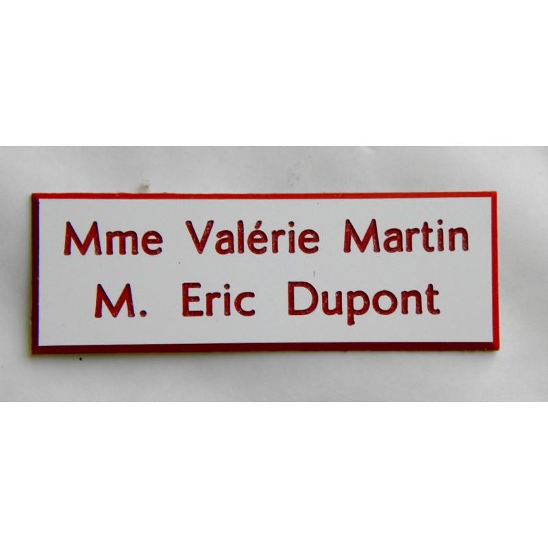 plaque de boite aux lettres sonnette format 25 x 75 mm personnalisable 2 lignes. Black Bedroom Furniture Sets. Home Design Ideas