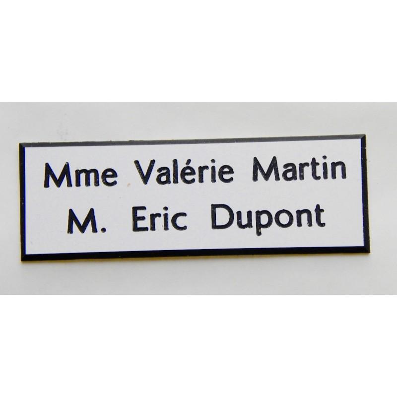 plaque de boite aux lettres sonnette format 50 x 150 mm personnalisable 2 lignes. Black Bedroom Furniture Sets. Home Design Ideas