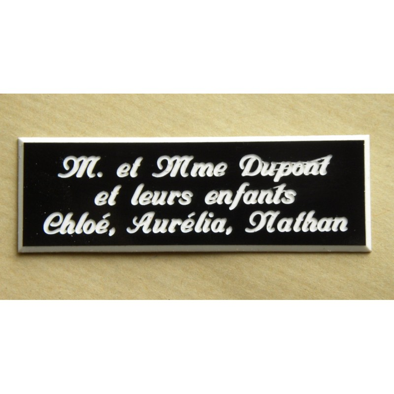 plaque de boite aux lettres sonnette format 20 x 60 mm personnalisable 3 lignes anglaise. Black Bedroom Furniture Sets. Home Design Ideas