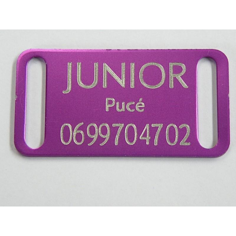 plaque identification chien violette petit modele gravure offertte. Black Bedroom Furniture Sets. Home Design Ideas