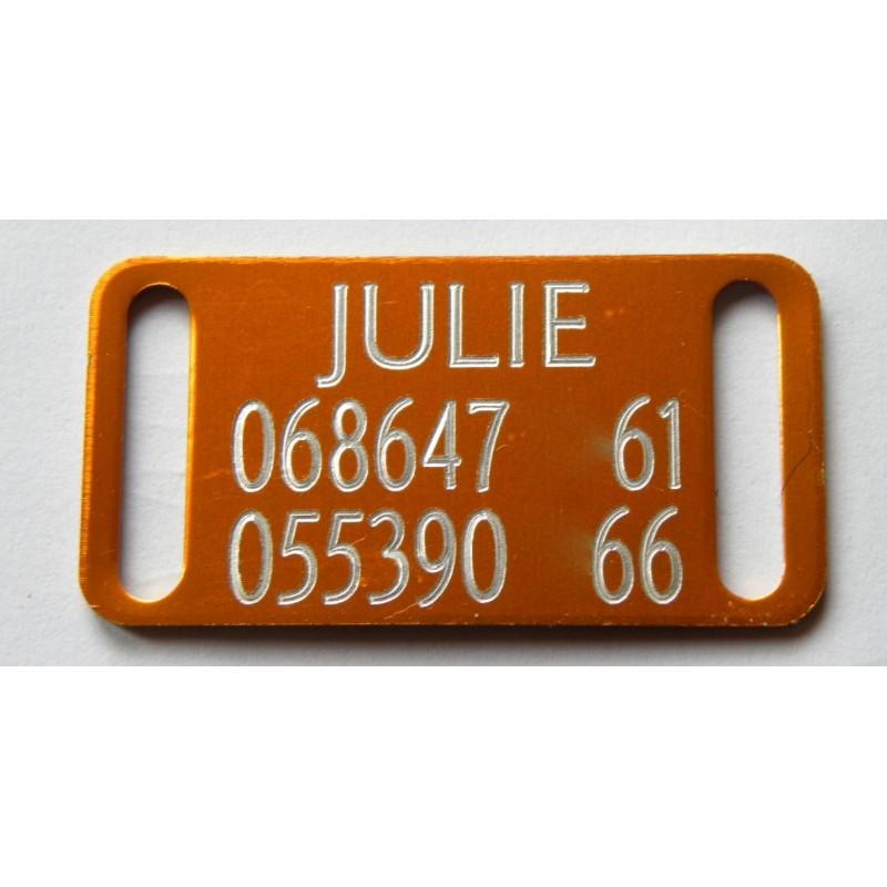 plaque identification chien petit modele orange. Black Bedroom Furniture Sets. Home Design Ideas