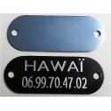 PLAQUE Médaille bleu argenté à riveter pour collier harnais Chien Chat gravure 1 face