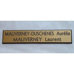plaque de boite aux lettres, sonnette format 20 x 100 mm personnalisable 2 lignes fond or