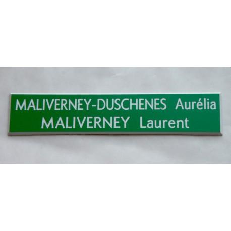 plaque de boite aux lettres, sonnette format 20 x 100 mm personnalisable 2 lignes fond vert