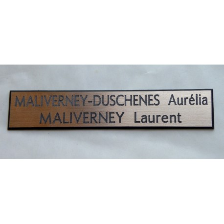plaque de boite aux lettres, sonnette format 20 x 100 mm personnalisable 2 lignes fond cuivre