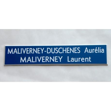 plaque de boite aux lettres, sonnette format 20 x 100 mm personnalisable 2 lignes fond bleu