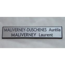 plaque de boite aux lettres, sonnette format 20 x 100 mm personnalisable 2 lignes fond argent
