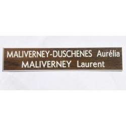 plaque de boite aux lettres, sonnette format 20 x 100 mm personnalisable 2 lignes fond noyer