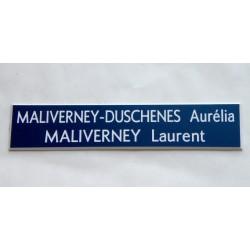 plaque de boite aux lettres, sonnette format 20 x 100 mm personnalisable 2 lignes fond bleu foncé