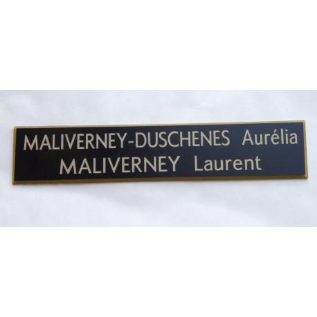 plaque de boite aux lettres, sonnette format 20 x 100 mm personnalisable 2 lignes fond noir texte or