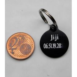Médaille ronde noire 19 mm pour Chaton, Chiot personnalisable gravure 1 ou 2 faces