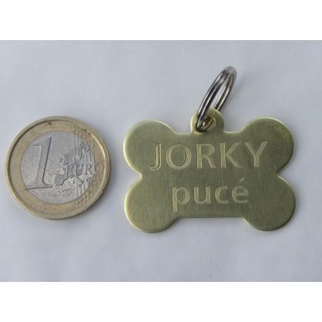 Médaille gravée chien os laiton personnalisable gravure 1 ou 2 faces