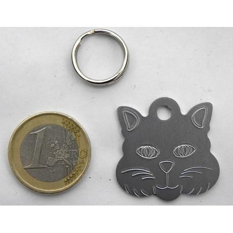 """Médaille """"tete de chat"""" argenté pour Chat personnalisable gravure 1 face"""