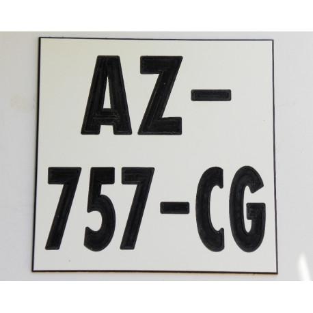 plaque gravée style immatriculation ft 10x10 CM moto tout terrain