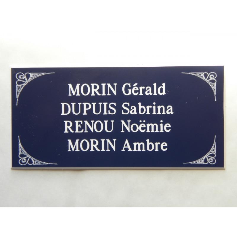 plaque de boite aux lettres porte bleu format 48 x 100 mm personnalisable 4 lignes. Black Bedroom Furniture Sets. Home Design Ideas