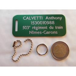 plaque d'identité bagage valise sport vert GRAVURE 1 face