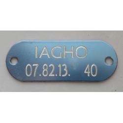 PLAQUE Médaille identification bleu argenté à riveter Chien Chat gravure 1 face