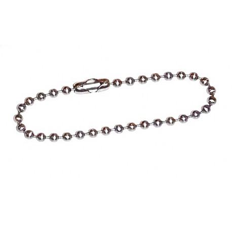 100 Chaines chainettes Acier Inoxydable Boules 2,1 x 100mm avec fermoir