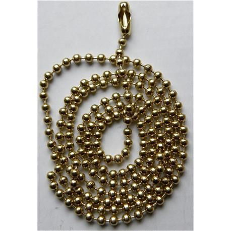 1 Chaine chainette dorée Inoxydable Boules 2,1 x 600 mm avec fermoir