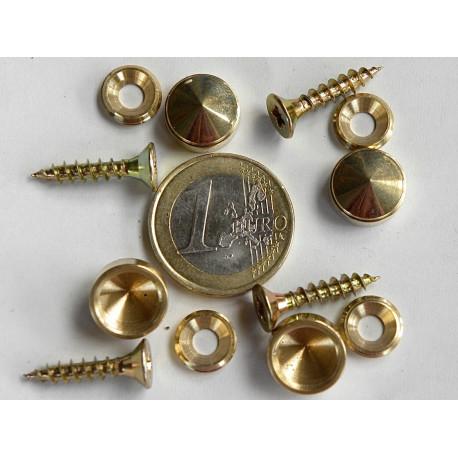 4 vis et cache vis laiton diametre 12 mm