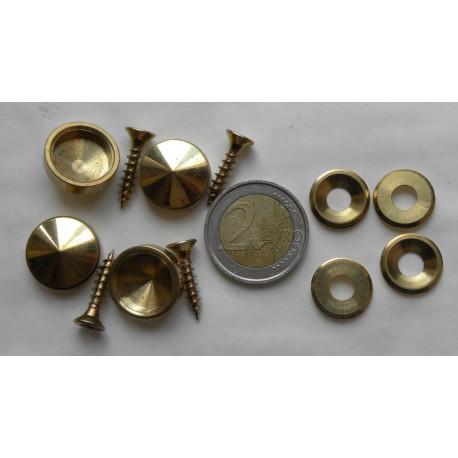 4 vis et cache vis laiton diametre 18 mm