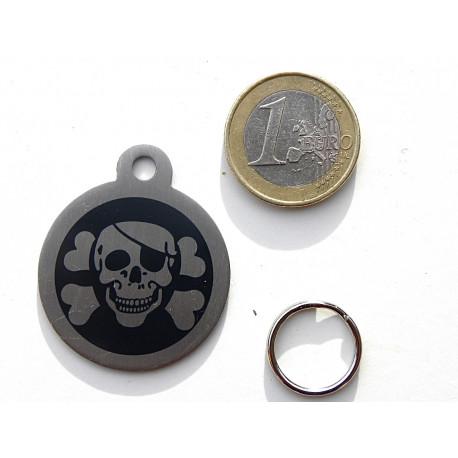 Médaille gravée corsaire noir en acier pour Chien personnalisable gravure 1 face Ft 32 mm