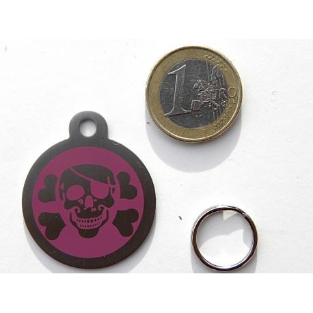 Médaille chien pirate gravée corsaire violet personnalisation offerte