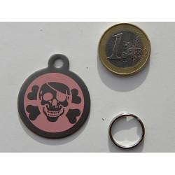 Médaille gravée acier chien corsaire rose gravure offerte