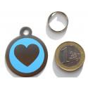 Médaille gravée acier chien coeur bleu gravure gratuite
