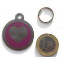 Médaillon acier pour Chien coeur violet gravure gratuite