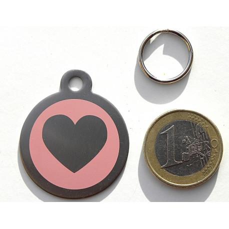 Médaille gravée coeur rose en acier pour Chien personnalisable gravure 1 face Ft 32 mm