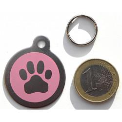 Médaille chien acier patte rose personnalisation gratuite
