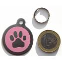 Médaille gravée patte rose en acier pour Chien personnalisable gravure 1 face Ft 32 mm