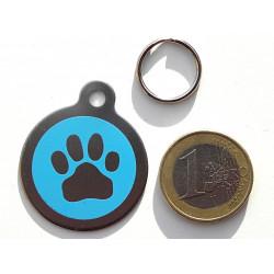 Médaille gravée acier Chien patte bleu personnalisable