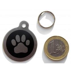 Médaille acier chien patte noire personnalisable gravure gratuite