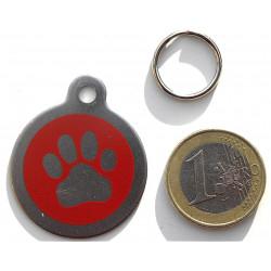 Médaille acier chien patte rouge personnalisable gravure offerte