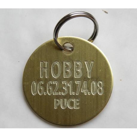 Médaille chien ronde en laiton