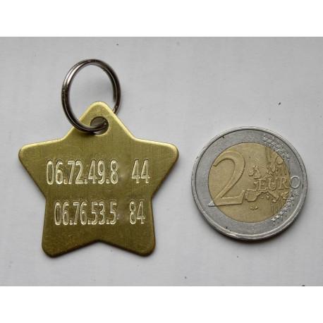Médaille étoile chien laiton personnalisée